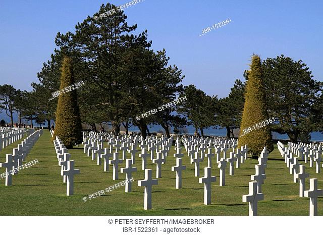 Graves at the Normandy American Cemetery and Memorial above Omaha Beach, site of the landing of the Allied invasion forces on D-Day 6 June 1944