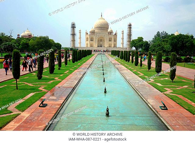 Views of the gardens of the Taj Mahal, an ivory-white marble mausoleum built as a tomb for Mumtaz Mahal, a Mughal Empress and chief consort of emperor Shah...