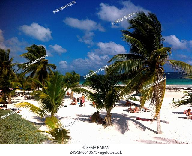 Sunny and windy day at Tulum beach, Tulum, Quintana Roo, Yucatan Province, Mexico, North America