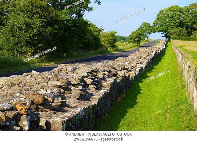 Roman Wall remains of. Birdoswald on Hadrian's Wall, World Heritage Site, Cumbria, England, UK
