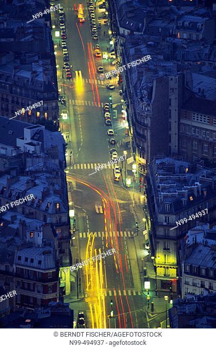 View from the Montparnasse tower, Rue de Rennes, Paris. France
