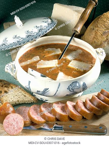 Soup of Sunday's evening with a saussage of Morteau