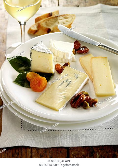 Plate of assorted cheeses