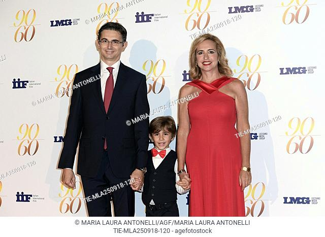 Federica Lucisano, husband Gabriele Nastasi and son Manfredi during red carpet of 60/90 party, for 60 years of career and ninetieth birthday of Fulvio Lucisano