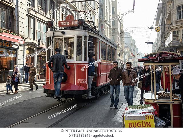 Taksim - Tunel tram in Istiklal Caddesi, Beyoglu, Istanbul, Turkey,