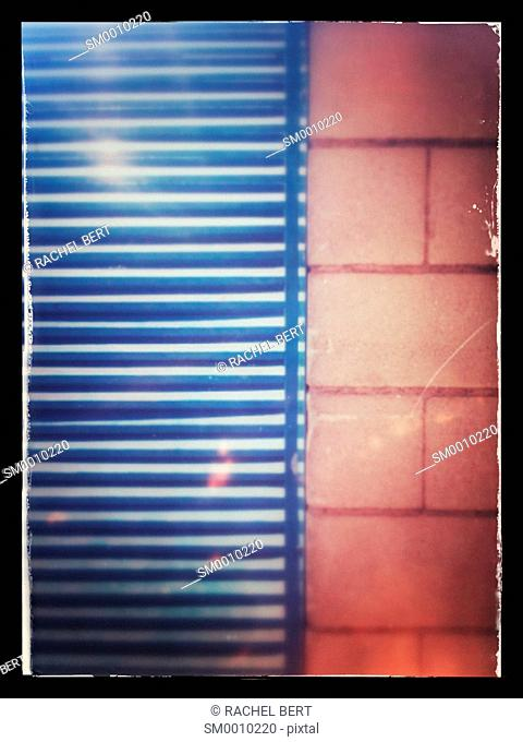Wall and blind, urban scene, 22@, Poblenou, Catalonia, Barcelona