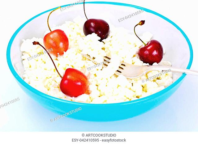 Cottage Cheese with Sweet Cherry Studio Photo