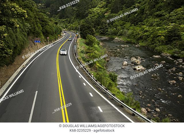 View of a highway from a bridge n the Hauraki Rail Trail, bicycling path on the north island in New Zealand