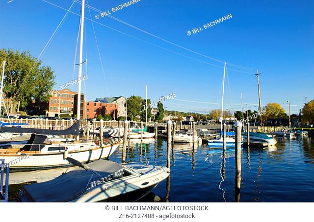 Burlington Vermont Fall Harbor Marina with boats Northern New England in downtown