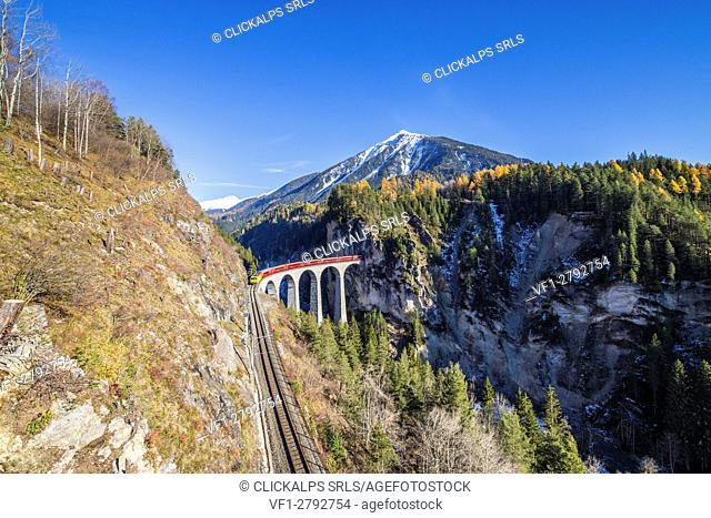 Bernina Express passes through Landwasser Viadukt surrounded by colorful woods Canton of Graubünden Switzerland Europe
