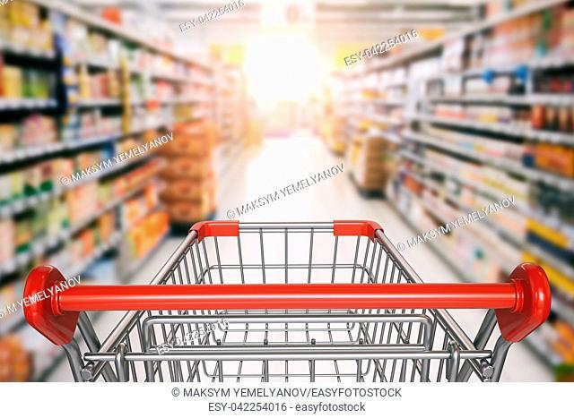 Empty shopping cart in supermarket. 3d illustration