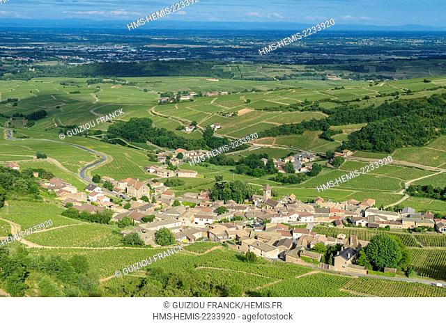 France, Saone et Loire, Maconnais vineyard, Solutre Pouilly from the top of Solutre Rock