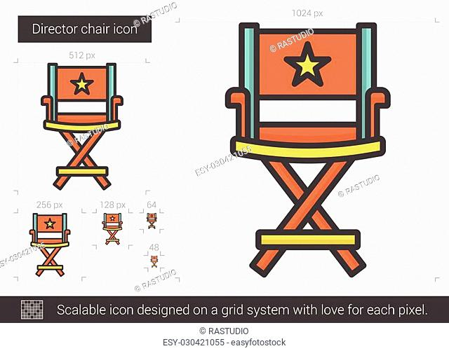 Director chair vector line icon isolated on white background. Director chair line icon for infographic, website or app. Scalable icon designed on a grid system