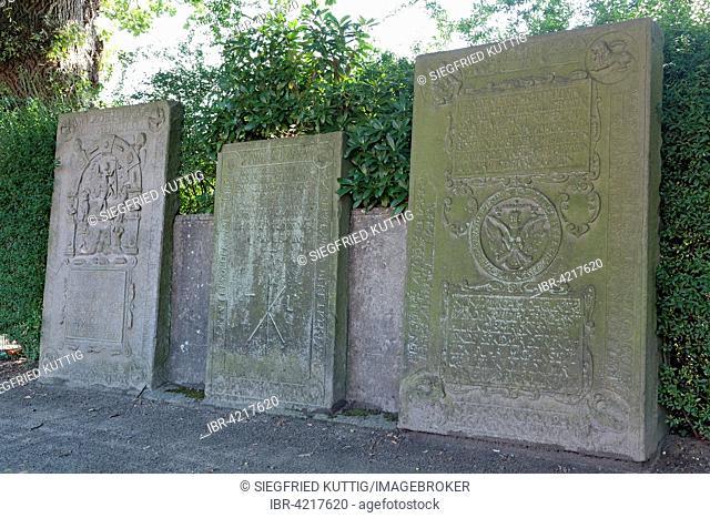 Old sandstone grave slabs, 16th to 19th century, St. Severini Kirchwerder, Vierlande, Hamburg, Germany