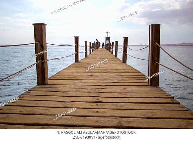 Sharm El-Shaikh, Egypt - November 2, 2018:- photo for wooden bridge in Red Sea coast In the Egyptian city of Sharm el-Sheikh