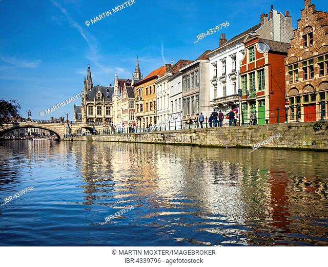 View from the Leie on old guild houses, Ghent, Flanders, Belgium