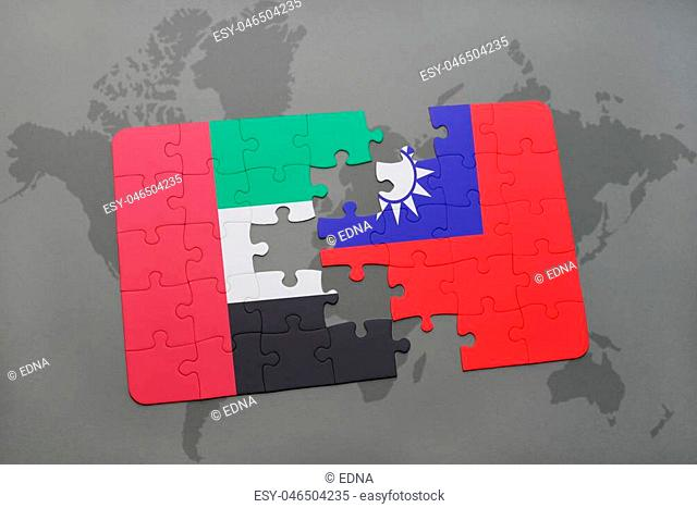 puzzle with the national flag of united arab emirates and taiwan on a world map background. 3D illustration