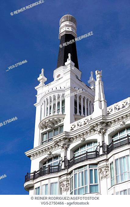 Santa Ana square in Madrid, Spain. Facade of a building