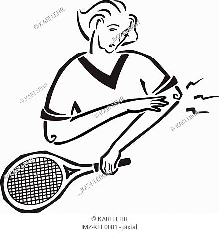 A woman suffering tennis elbow
