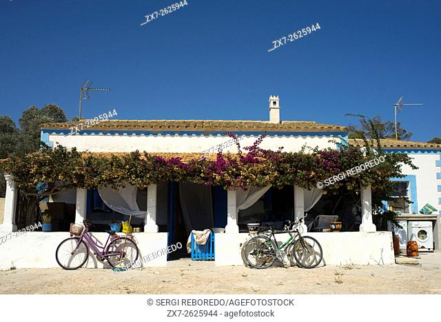 Bicycles in front of a Typical house in Formentera Island. Mediterranean. Pityuses, Balearic Islands, Spain, Europe