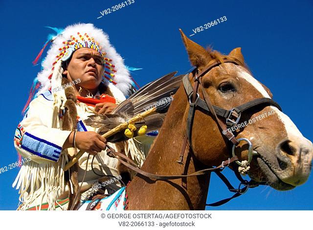 Man in regalia, Pi-Ume-Sha Treaty Days Parade, Warm Springs Indian Reservation, Oregon