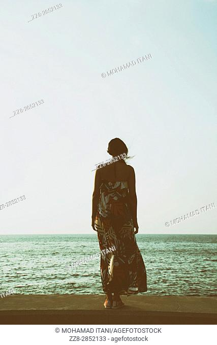 Rear view of a young woman wearing a summer dress standing by the sea
