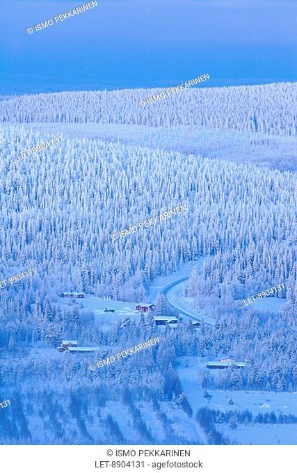 Snowy fjelds in Iso-Syöte, Finland. Pudasjarvi