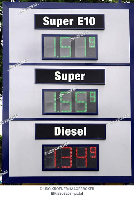 Electronic price display at a petrol station