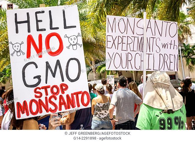 Florida, West Palm Beach, Clematis Street, protest, demonstration, Monsanto, GMO, GMOs, genetically modified crops organisms, against, sign, poster, protester