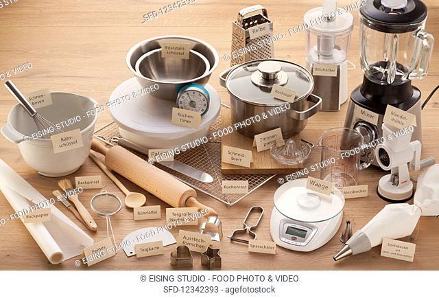Various kitchen appliances and utensils