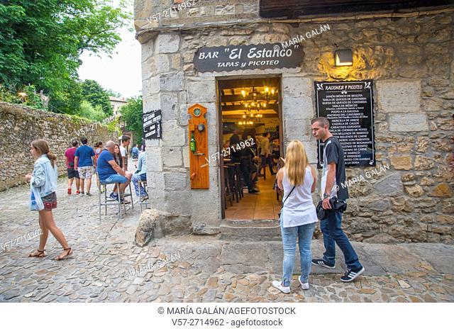 Facade of El Estanco bar. Santillana del Mar, Cantabria, Spain