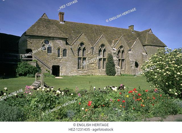 Stokesay Castle, Shropshire, 1997. Here the west range, which includes the Great Hall and domestic appartments, is viewed across the flower beds in the...