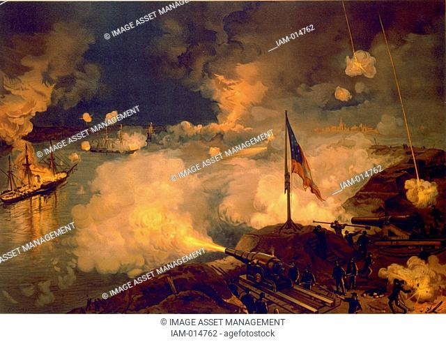 American Civil War 1861-1865: Bombardment of Port Hudson 14 March 1863. Fleet of seven Union vessels attempted to run past Port Hudson to blockade Red River