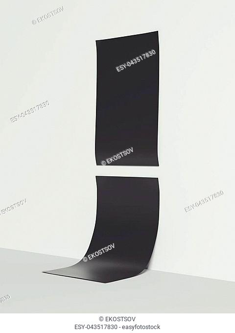 Black posters hanging on bright wall. 3d rendering