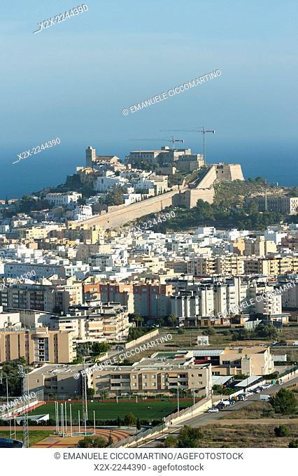 View Dalt Vila, Ibiza, Balearic Islands, Spain, Mediterranean, Europe