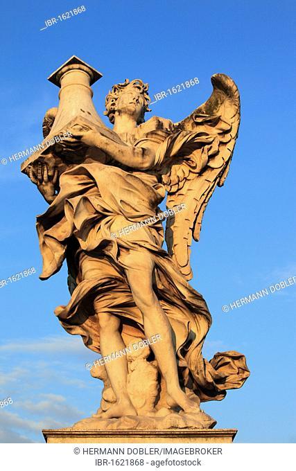 Angel figure on the Ponte Sant'Angelo bridge, Rome, Italy, Europe