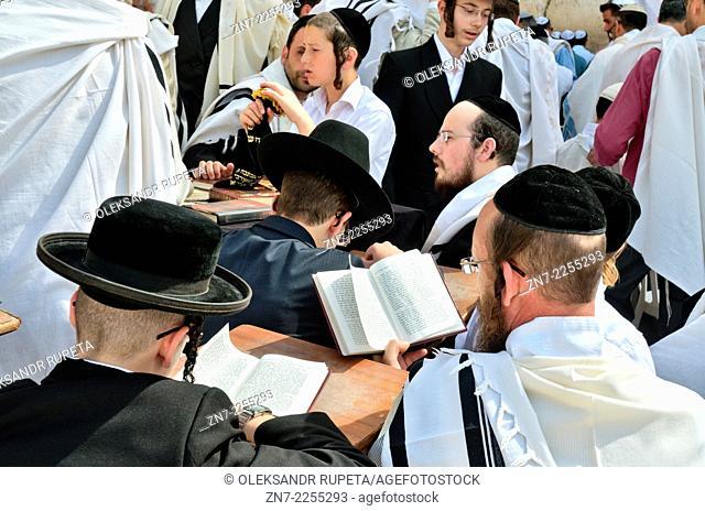 Jews reading Torah and praying at the Wailing Wall, Jerusalem, Israel