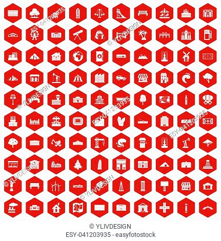 100 landscape element icons set in red hexagon isolated illustration