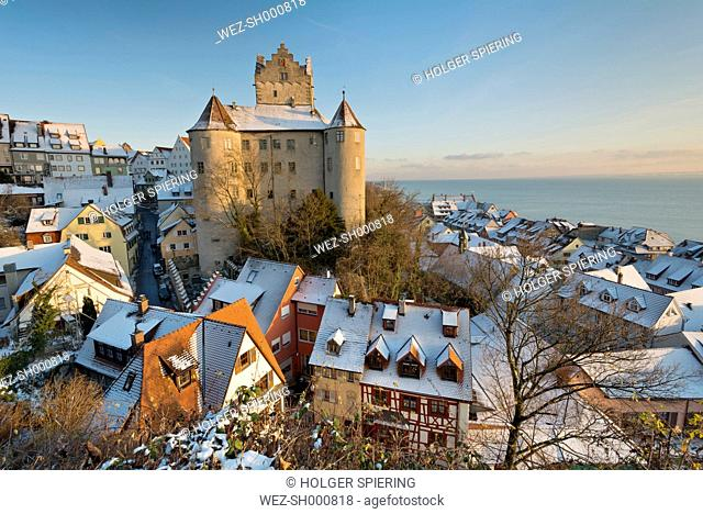 Germany, View of Meersburg Castle covered with snow