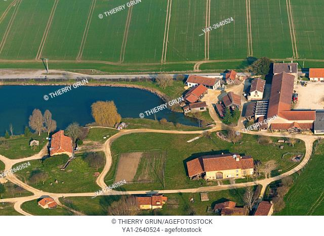 France, Meuse (55), Azannes, old craft village (aerial view)