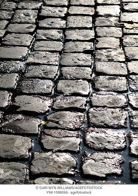 Close up of cobble stones on street road