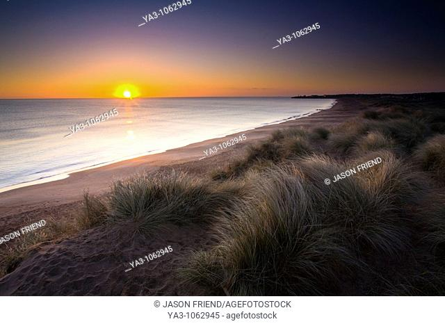 England, Northumberland, Blyth Beach  Blyth Beach and sand dunes at sunrise, looking south towards Seaton Sluice