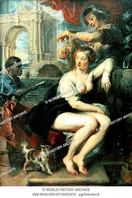 Bathsheba at the Fountain c. 1635; oil on oak panel, by Peter Paul Rubens (1577–1640). Peter Paul Rubens was born in Siegen in Germany
