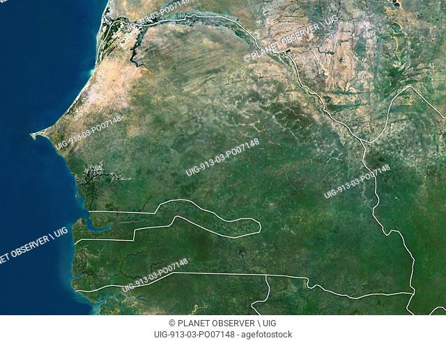 Satellite view of Senegal and Gambia (with country boundaries). This image was compiled from data acquired by Landsat satellites