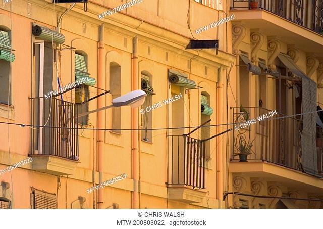 Building facade old balcony apartment orange