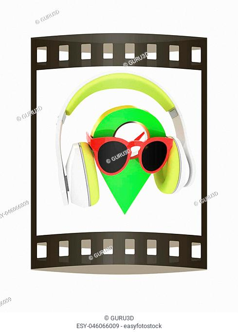 Glamour map pointer in sunglasses and headphones. 3d illustration. The film strip