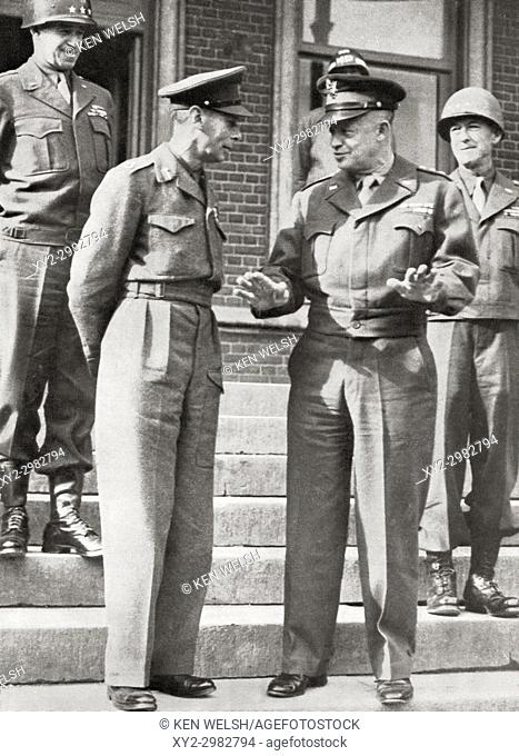 King George VI, left, with General Eisenhower in France, 1944. George VI, 1895 - 1952. King of the United Kingdom and the Dominions of the British Commonwealth