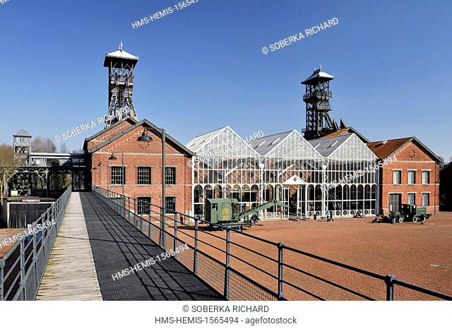 France, Nord, Lewarde, Mining History Centre listed as World Heritage by UNESCO, main courtyard and glass roof of machines viewed from the footbridge of miners
