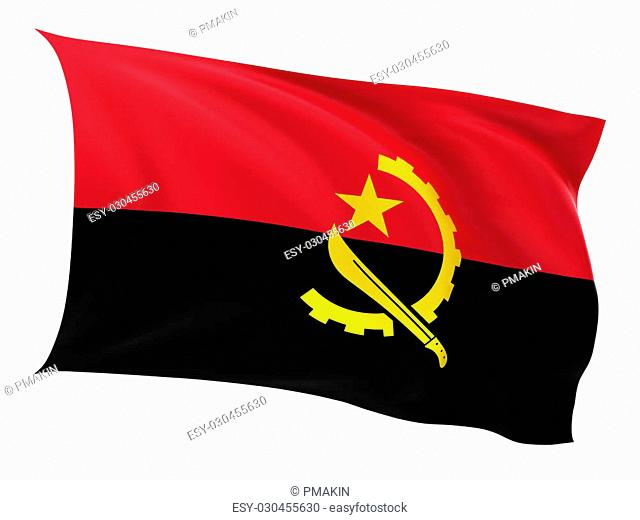 Flag of the Angola on a white background