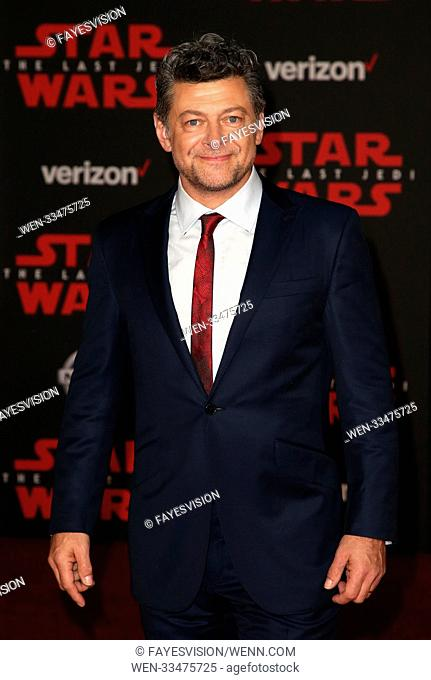 Premiere Of Disney Pictures And Lucasfilm's 'Star Wars: The Last Jedi' Featuring: Andy Serkis Where: Los Angeles, California